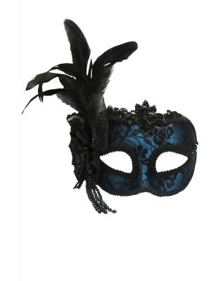 Phaze Blue Side Feather Mask