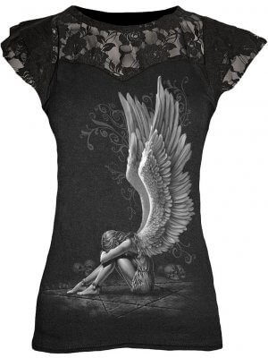 Spiral Enslaved Angel Lace Layered Viscose Top