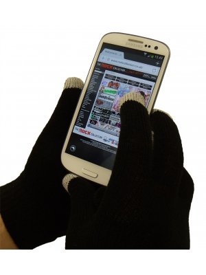Women's Black Knitted Touch Screen Gloves