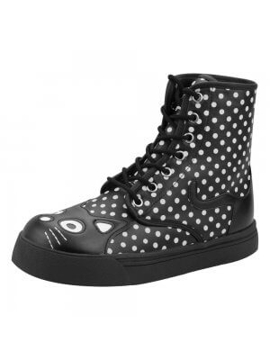 T.U.K. Shoes Black Polka Dot Kitty Combat Boots