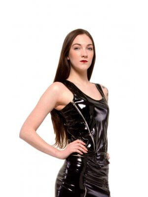Phaze Quest Double Zip Tight Fitting Gloss PVC Top