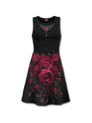Spiral Blood Rose All Over Print Skater Dress