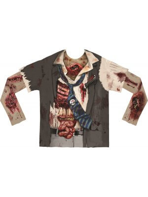 Faux Real Zombie Men's Long Sleeve T-Shirt With Mesh Sleeves