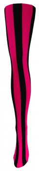 Music Legs Black & Pink Vertical Striped Tights